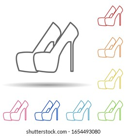High-heeled shoes in multi color style icon. Simple thin line, outline vector of woman accessories icons for ui and ux, website or mobile application