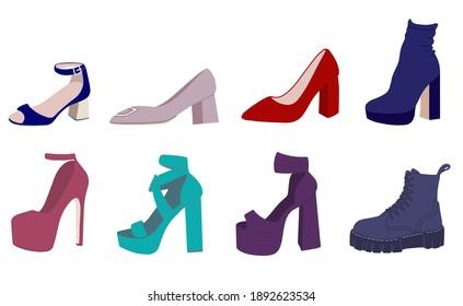 High-heeled shoes set. Flat vector illustration. Women's High-Heeled Shoes