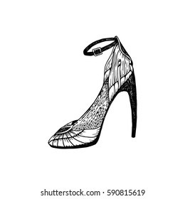 High-heeled shoes for woman. Fashion footwear artwork in zenshoe style pattern fill. Isolated clipart for coloring book pages design