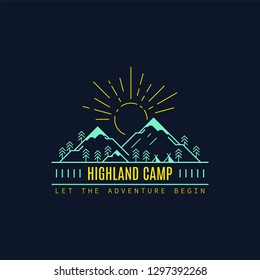 Highland camp badge design. Line art illustration. Trekking, camping emblem.