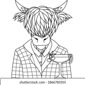 Highland cow with cocktail glass, design for coloring book, coloring page or print on things. Vector illustration.