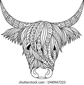 Highland cow design for coloring book,coloring page, t shirt design and so on. Vector illustration