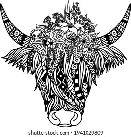 Highland cow with flowers design for coloring book,coloring page, t shirt design and so on. Vector illustration