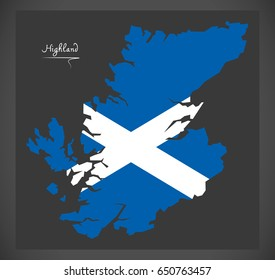 Highland of Scotland map with Scottish national flag illustration