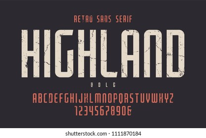 Highland vector condensed bold retro typeface, uppercase letters and numbers, alphabet, font, typography. Global swatches.