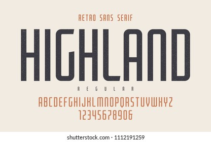 Highland vector condensed regular retro typeface, uppercase letters and numbers, alphabet, font, typography. Global swatches.