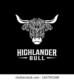 Highlander bull vintage logo design. Mascot logo design