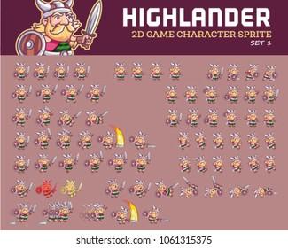Highlander Warrior Cartoon Game Character Animation Sprite