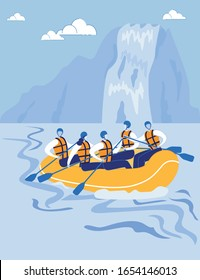 Highlands with River and Waterfall Landscape in Vertical format. Rafting Athletes, Sportsmen Rafting down Mountain River. Teamwork, Overcoming and Extreme Tourism. Flat Cartoon Vector Illustration.