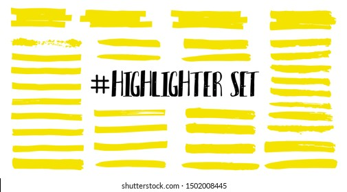 Highlight brush lines. Marker color stroke, brush pen hand drawn underline. Yellow watercolor hand drawn highlight set. Vector abstract graphic stylish element. Vector collection