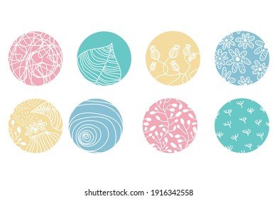 Highlight cover set, abstract floral botanical icons for social media. Vector illustration