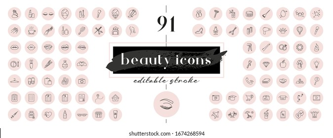 Highlight covers backgrounds. Set of beauty icons. Editable stroke. It is well suited for bloggers, cosmetics ad design and also for hairdressers, stylists, spas, beauty salons or cosmetologists.