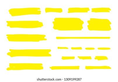 Highlight marker line. Brush pen underline stroke, yellow hand drawn color graphic shape. Vector permanent marker lines
