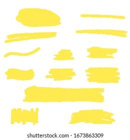 Mettre en surbrillance la ligne jaune du marqueur, le trait de couleur, le soulignement dessiné à la main par le stylet de brosse. Ligne de repère abstraite permanente, ensemble de peinture dessinée à la texture de crayon. Image vectorielle