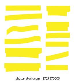 Highlight marker. Highlight yellow strokes. Marker pen highlight
