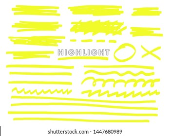 Highlight. Vector hand drawn marker line elements, dotted lines, waves, cross and circle. Objects on an isolated background.