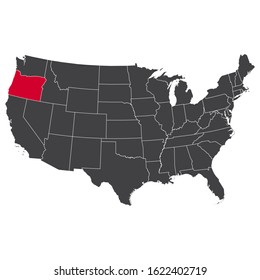 Highlighted red Oregon map on the dark grey high detailed USA map isolated on the white background