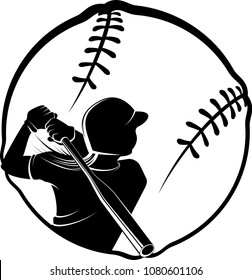 Highlighted silhouette available for digital download of a female batter in a stylized softball.