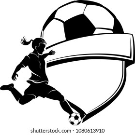 Highlighted silhouette available for digital download of a girl soccer player kicking the ball with a shield and soccer ball design behind.