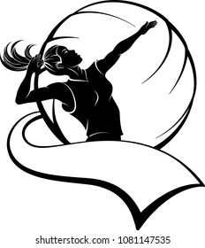 Highlighted silhouette available for digital download of a female volleyball player getting ready to strike the ball.