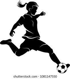 Highlighted silhouette available for digital download of a girl soccer player kicking the ball.