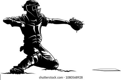 Highlighted silhouette of a baseball catcher.