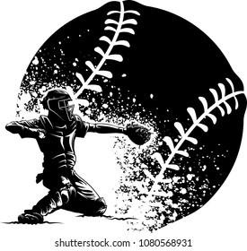 Highlighted silhouette of a baseball catcher with a grunge style baseball around him.