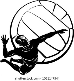 Highlighted silhouette of a beach volleyball player spiking the ball with a volleyball background.