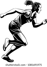 Highlighted silhouette of a female sprinter in just out of the blocks.