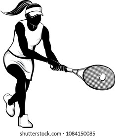 Highlighted silhouette of a woman tennis player returning a volley.
