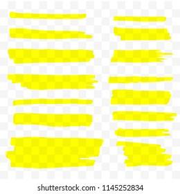 Highlighter brush set. Vector hand drawn yellow highlight marker stripes.