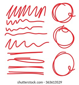 Highlighter circles scribbles and underlines, curves and zigzags  set for marks. Vector imitation of hand drawing.