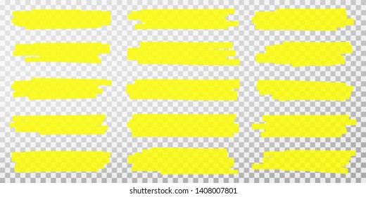 Highlighter lines. Hand drawn yellow highlighter marker strokes. Set of transparent fluorescent highlighter markers for underlines. Vector