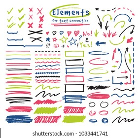 Highlighter markers vector highlighting with hand drawing elements to select and highlight text illustration set of marked lines and arrows isolated on white background