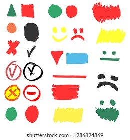 Highlighter markers vector highlighting with hand drawing elements to select and highlight text illustration set of marked lines and arrows isolated.vector illustrator