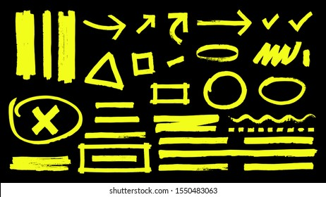 Highlighter marks. Hand drawn yellow highlight marker signs. Vector highlighter strokes arrows rounds isolated on black background