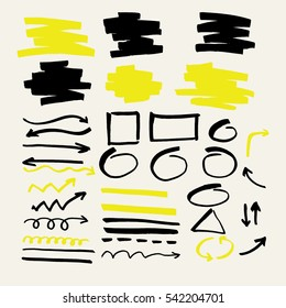Highlighter. Set of vector elements for presentations drawn with a marker.
