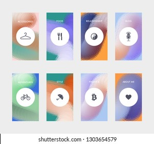Highlights covers template for promotion product page, account or personality in the social networks. Fluid shapes composition. Futuristic design template. Eps10 vector.
