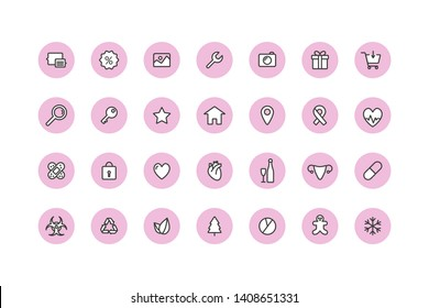 Highlights story cover template for insta bloggers. Set of 28 highlights linear icons fully editable vector illustration