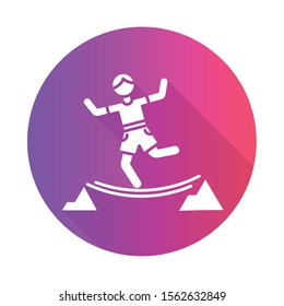 Highlining purple flat design long shadow glyph icon. Slacklining. Walking and balancing on tightrope. Slackliner in mountains. Extreme sport stunt. Walker on rope. Vector silhouette illustration