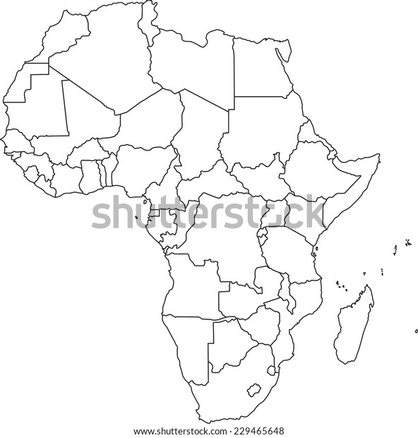 Africa Blind Map Highly Detailed Africa Blind Map Stock Vector (Royalty Free) 229465648