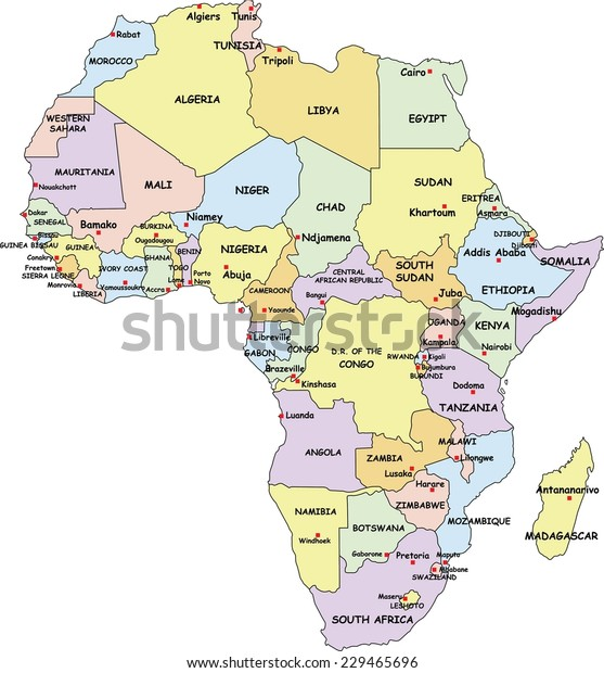 Highly Detailed Africa Political Map Country Stock Vector ...