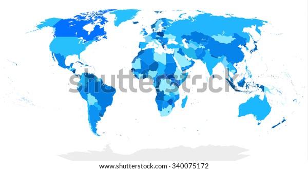 Detaillierte Blind Weltkarte In Blau Stock Vektorgrafik