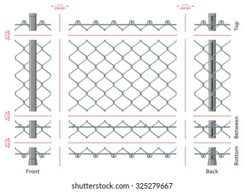 Highly detailed chain-link fence with no gradients, seamless after quick edit
