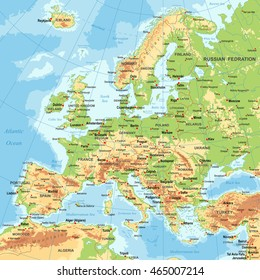Highly detailed colored vector illustration of Europe map -