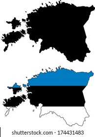 Highly Detailed Country Silhouette With Flag - Estonia