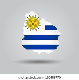 Highly Detailed Country Silhouette With Flag and 3D effect - Uruguay