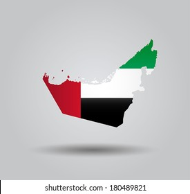 Highly Detailed Country Silhouette With Flag and 3D effect - United Arab Emirates