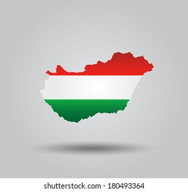 Highly Detailed Country Silhouette With Flag and 3d effect - Hungary