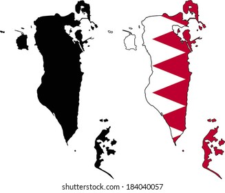 Highly Detailed Country Silhouette With Flag - Bahrain